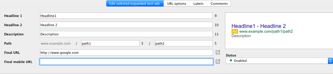 Google Expanded Text Ads AdWords Editor