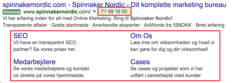 adwords sitelinks extensions telefonnummer
