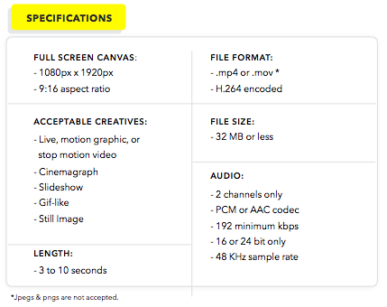 Snap Ad Specifications